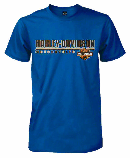 Harley-Davidson Men's H-D Headline Short Sleeve Tall T-Shirt, Royal Blue - Wisconsin Harley-Davidson