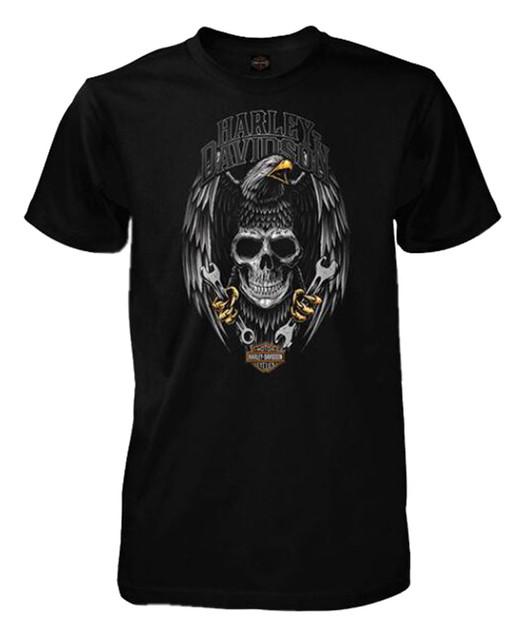 Harley-Davidson Men's Clench Short Sleeve Crew Neck T-Shirt, Solid Black - Wisconsin Harley-Davidson
