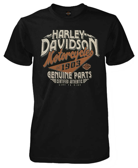 Harley-Davidson Men's Distressed Genuine Parts Short Sleeve T-Shirt, Black - Wisconsin Harley-Davidson