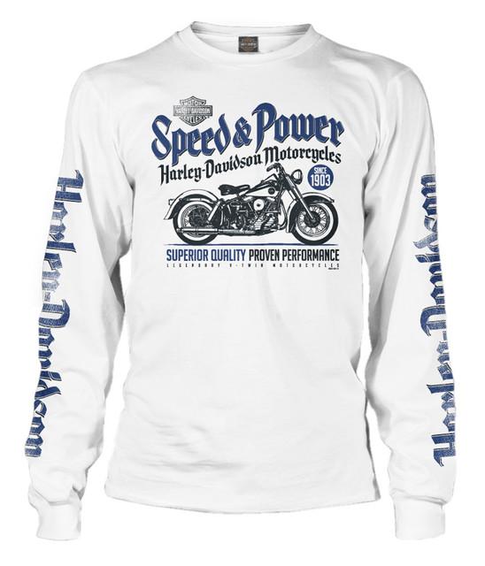 Harley-Davidson Men's Swift Speed & Power Long Sleeve T-Shirt, Solid White - Wisconsin Harley-Davidson