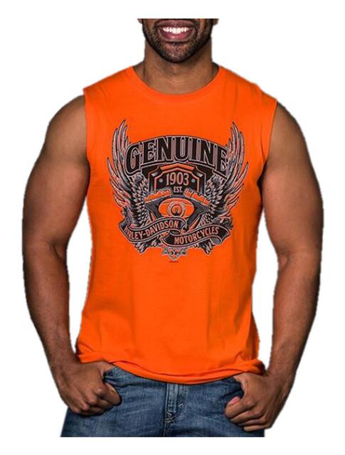 Harley-Davidson Men's Assertive Wing V-Twin Sleeveless Muscle Tee, Bright Orange - Wisconsin Harley-Davidson