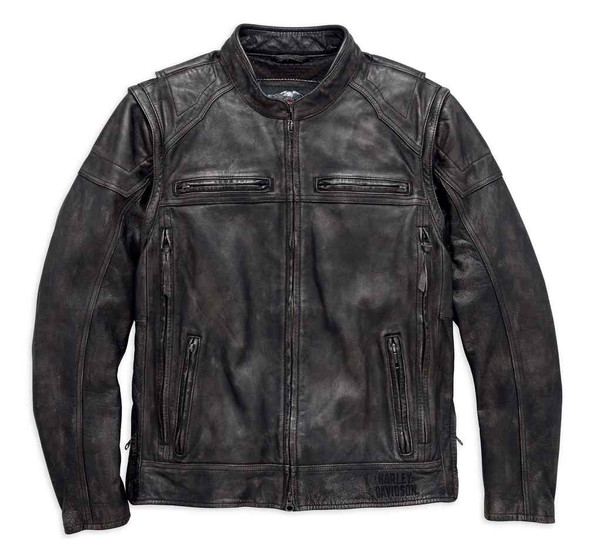 Harley-Davidson Mens Dauntless Convertible Leather Jacket, Distressed 98133-17VM - Wisconsin Harley-Davidson