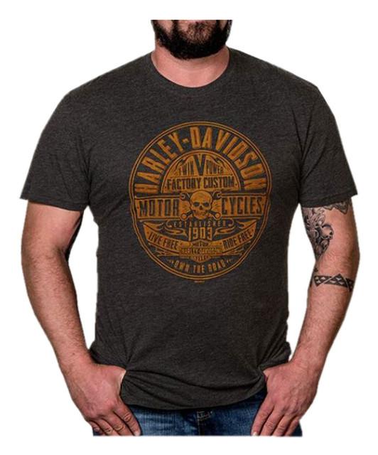 Harley-Davidson Men's Factory Stamp Short Sleeve Crew T-Shirt, Vintage Black - Wisconsin Harley-Davidson