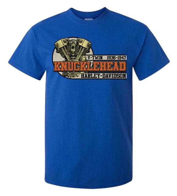 Harley-Davidson Men's '36 Knucklehead Short Sleeve Crew Neck T-Shirt, Royal - Wisconsin Harley-Davidson
