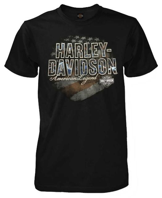 Harley-Davidson Men's Brace Patriotic H-D Short Sleeve T-Shirt, Solid Black - Wisconsin Harley-Davidson