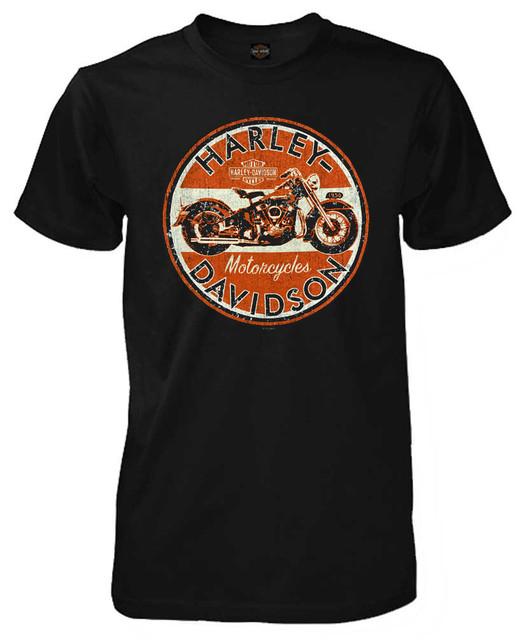 Harley-Davidson Men's Retro Mature Bike Short Sleeve T-Shirt, Solid Black - Wisconsin Harley-Davidson