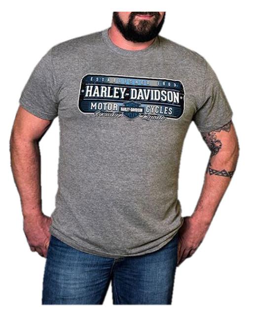 Harley-Davidson Men's Licensed H-D Short Sleeve Crew T-Shirt, Premium Heather - Wisconsin Harley-Davidson