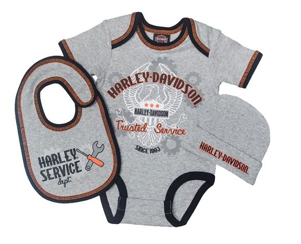 Harley-Davidson Baby Boys' Newborn Eagle 3 Piece Gift Box Set, Gray 2551661 - Wisconsin Harley-Davidson