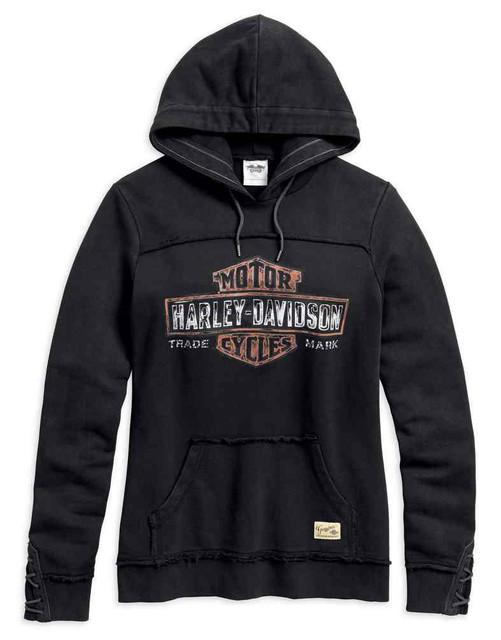Harley-Davidson Women's Genuine B&S Pullover Hoodie, Wash Black 99100-17VW - Wisconsin Harley-Davidson