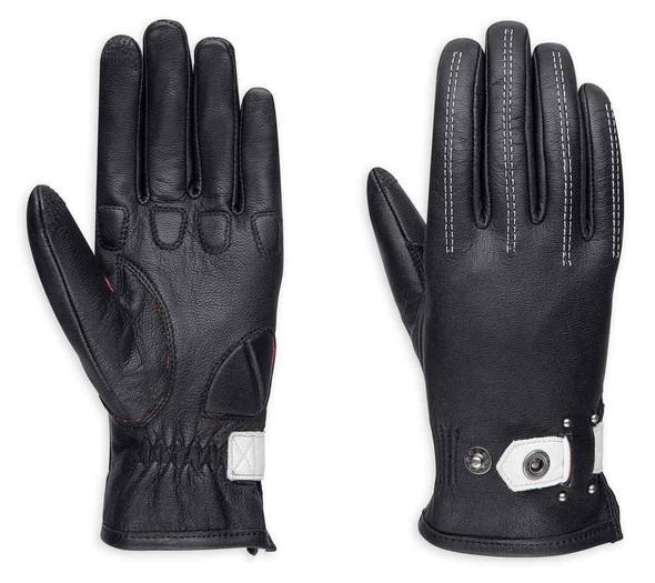 Harley-Davidson Women's Compass Full-Finger Leather Gloves, Black 98379-17VW - Wisconsin Harley-Davidson