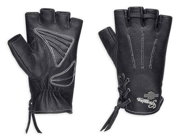 Harley-Davidson Women's Distressed Perforated Fingerless Gloves 98380-17VW - Wisconsin Harley-Davidson