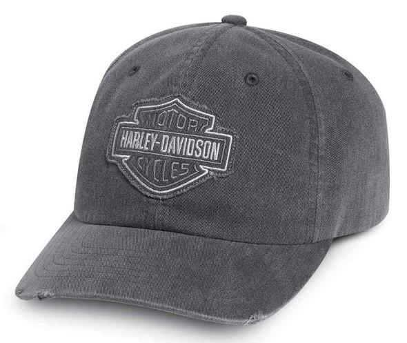 Harley-Davidson Men's Frayed Tonal B&S Logo Baseball Cap, Gray 99414-16VM - Wisconsin Harley-Davidson