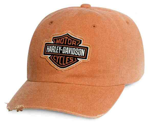 Harley-Davidson Men's Frayed Bar & Shield Logo Baseball Cap, Orange 99413-16VM - Wisconsin Harley-Davidson