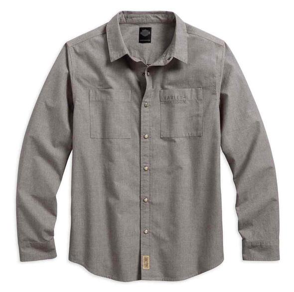 Harley-Davidson Men's Black Label Textured Cotton Woven Shirt, Brown 99025-17VM - Wisconsin Harley-Davidson