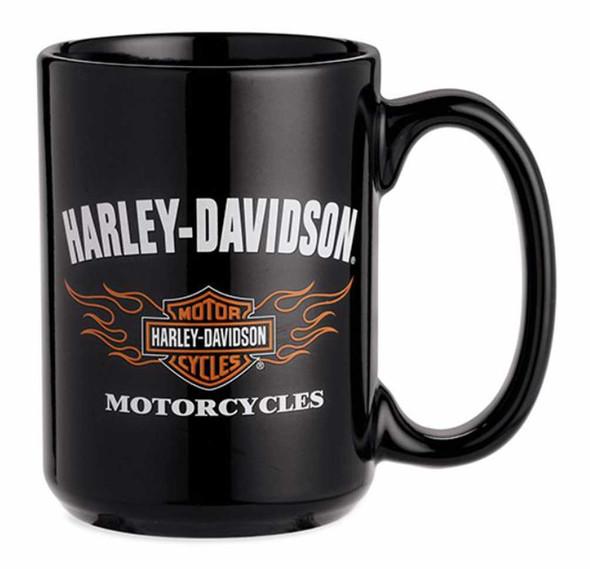 Harley-Davidson Bar & Shield Logo W/ Flames Ceramic Coffee Mug, Black 99212-16V - Wisconsin Harley-Davidson
