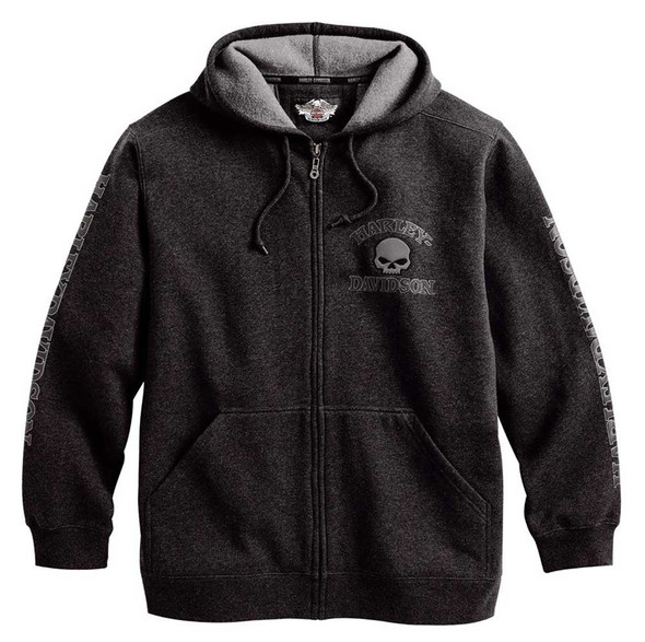 Harley-Davidson Men's Willie G Skull Zippered Hooded Sweatshirt, Gray 99022-17VM - Wisconsin Harley-Davidson