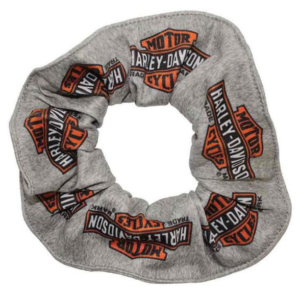 Harley-Davidson Women's Long Bar & Shield Logos Hair Scrunchie, Gray HS31254 - Wisconsin Harley-Davidson