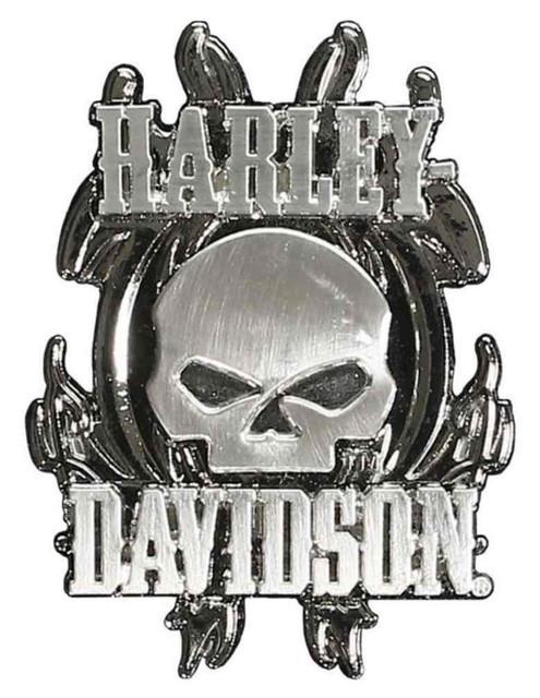 Harley-Davidson Vicious Willie G Skull 3D Die Cast Pin, Nickel Finishes P639753 - Wisconsin Harley-Davidson