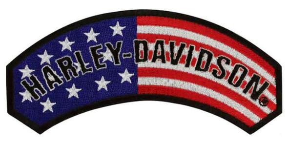 Harley-Davidson Embroidered American Flag Rocker Emblem, 5 x 2.25 inch EM080842 - Wisconsin Harley-Davidson