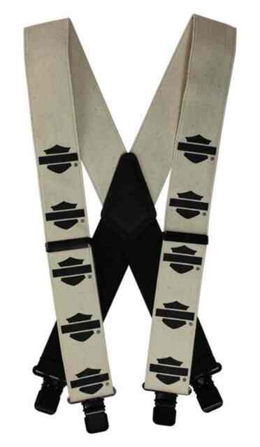 Harley-Davidson Men's Black B&S Khaki Suspenders, Regular 42 Inch SUS1144043 - Wisconsin Harley-Davidson