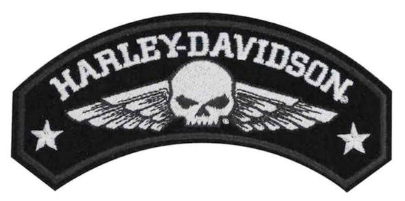 Harley-Davidson Embroidered Military Wings Rocker Emblem, 5 x 2.25 inch EM044753 - Wisconsin Harley-Davidson