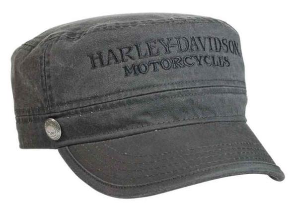 Harley-Davidson Men's Hubcap Embroidered H-D Painter's Cap, Wash Black PC102921 - Wisconsin Harley-Davidson