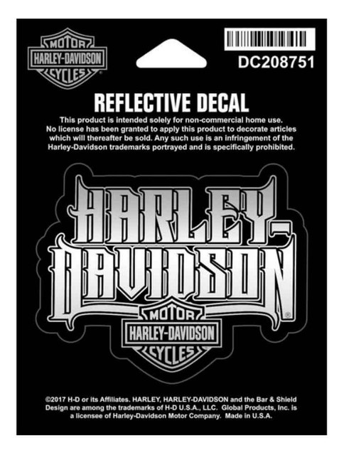 Harley-Davidson Reflective Spiked Text Decal, XS Size, 3 x 2.5 inches DC208751 - Wisconsin Harley-Davidson
