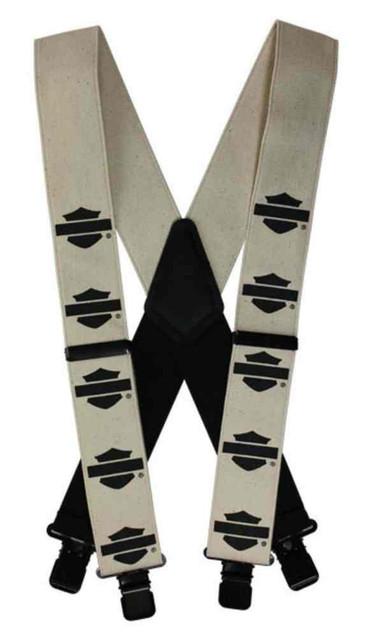 Harley-Davidson Men's Black B&S Khaki Suspenders, Extra Long  54 Inch SUS1144046 - Wisconsin Harley-Davidson