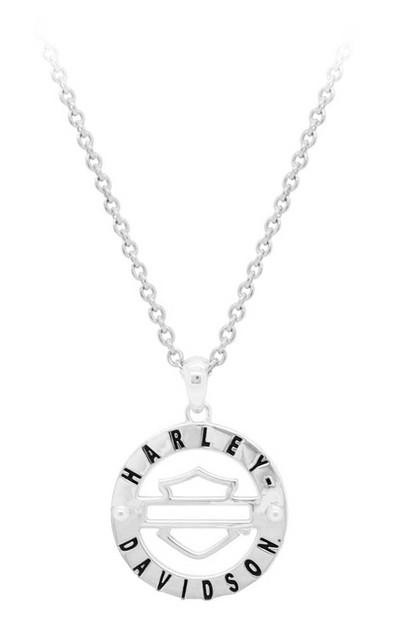 Harley-Davidson Men's Classic Outline Bar & Shield Medallion Necklace HDN0365-22 - Wisconsin Harley-Davidson