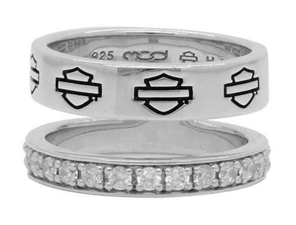 Harley-Davidson Women's Double Band Bling Split Ring, Sterling Silver HDR0426 - Wisconsin Harley-Davidson
