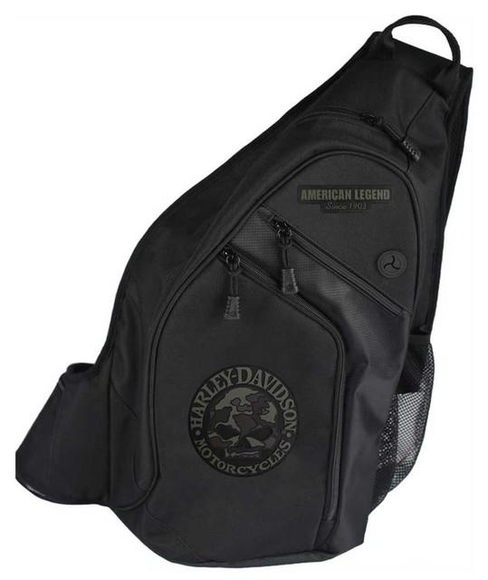 Harley-Davidson 3D Willie G Skull Camo Sling Backpack, Black BP3561S-CAMBLK - Wisconsin Harley-Davidson