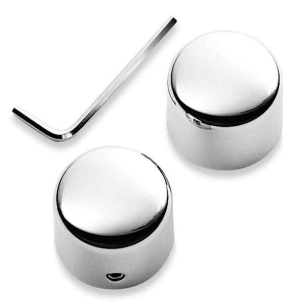 Harley-Davidson Front Axle Nut Covers, Billet Chrome Finish 44116-07A - Wisconsin Harley-Davidson