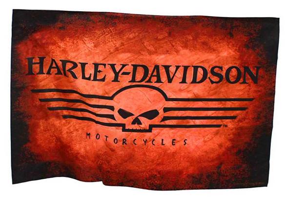 Harley-Davidson Straight Willie G Skull Estate Flag, Orange & Black HD-HD-927 - Wisconsin Harley-Davidson