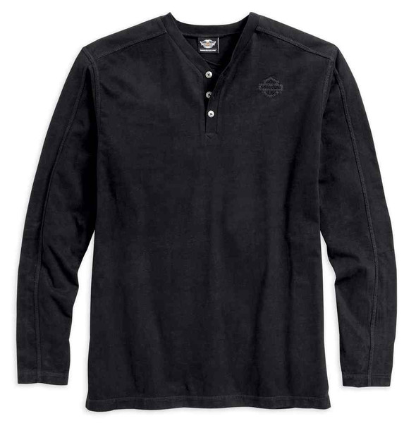 Harley-Davidson Men's Contrast Stitch Knit Long Sleeve Shirt, Black 96497-17VM - Wisconsin Harley-Davidson