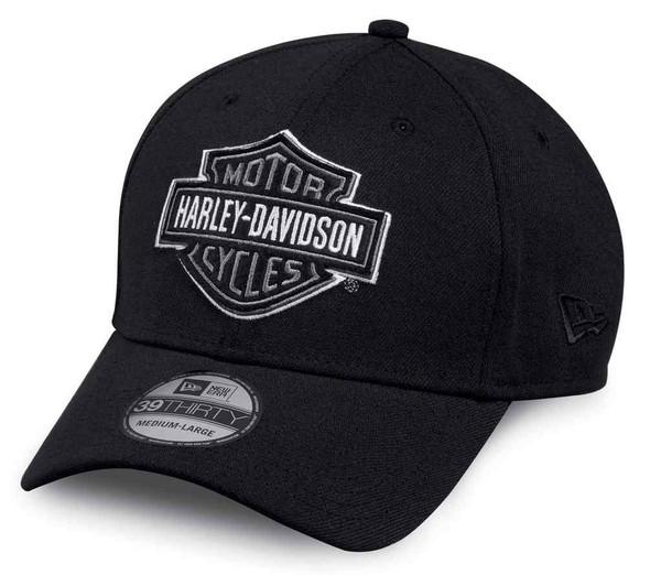 Harley-Davidson Men's Felt B&S Patch 39THIRTY Baseball Cap, Black 97821-17VM - Wisconsin Harley-Davidson