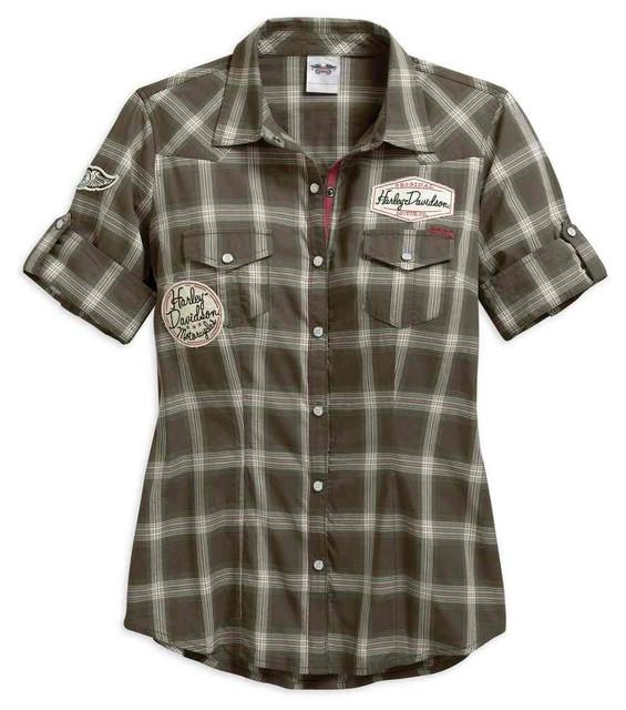 Harley-Davidson Women's Multi-Patch Short Sleeve Plaid Shirt, Brown 96077-17VW - Wisconsin Harley-Davidson