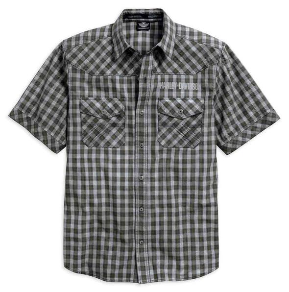 Harley-Davidson Men's Cloud Wash Plaid Short Sleeve Woven Shirt 96509-17VM - Wisconsin Harley-Davidson