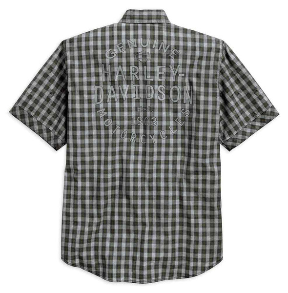 Harley-Davidson Men's Cloud Wash Plaid Short Sleeve Woven Shirt 96509-17VM - Wisconsin Harley-Davidson