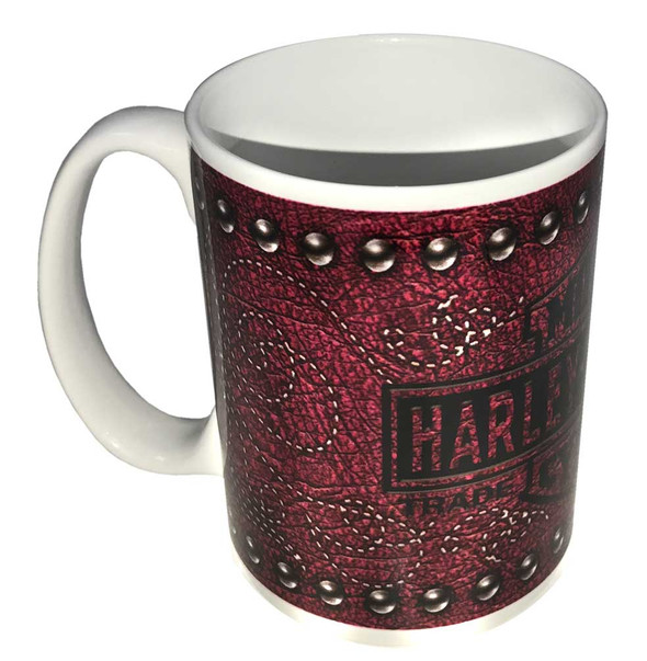Harley-Davidson Bar & Shield Leather Coffee Mug, 15 oz. Pink & White HD-LTH-1401 - Wisconsin Harley-Davidson