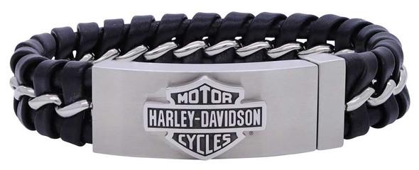 Harley-Davidson Men's Hidden Clasp Bar & Shield Bracelet, Black HSB0182 - Wisconsin Harley-Davidson