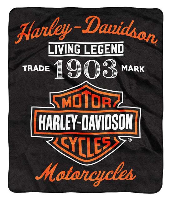 Harley-Davidson Legend Bar & Shield Raschel Throw Blanket, 50 x 60 inch NW350861 - Wisconsin Harley-Davidson