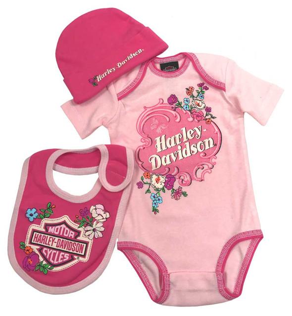 Harley-Davidson Baby Girls' Glittery 3 Piece Creeper Gift Box Set, Pink 2501721 - Wisconsin Harley-Davidson
