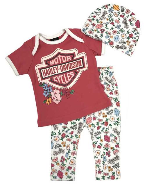Harley-Davidson Baby Girls' Glittery 3 Piece Gift Set w/ Gift Bag, Pink 2501727 - Wisconsin Harley-Davidson