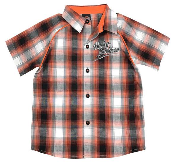 Harley-Davidson Little Boys' Plaid Short Sleeve Woven Shirt, Orange 1071713 - Wisconsin Harley-Davidson