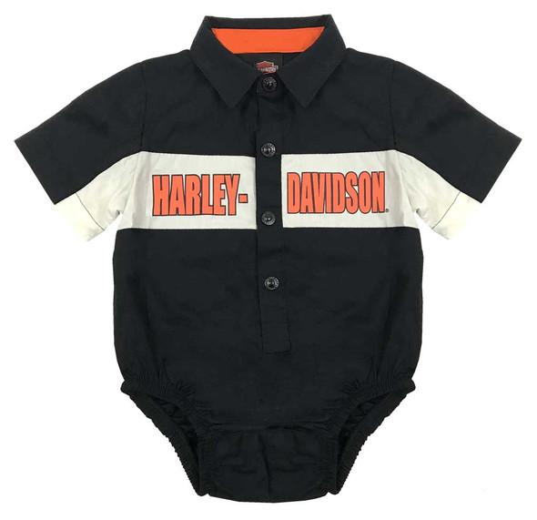 Harley-Davidson Baby Boys' Poplin B&S Woven Newborn Creeper, Black 3051749 - Wisconsin Harley-Davidson