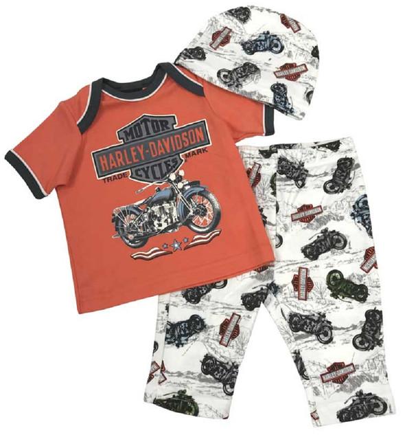 Harley-Davidson Baby Boys' H-D 3 Piece Newborn Gift Set w/ Gift Bag 2551753 - Wisconsin Harley-Davidson