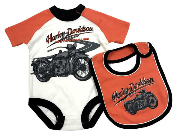 Harley-Davidson Baby Boys' Print Interlock Infant Creeper & Bib Set 3061761 - Wisconsin Harley-Davidson