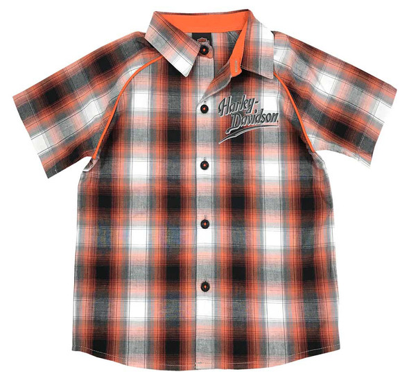 Harley-Davidson Big Boys' Plaid Short Sleeve Woven Shirt, Orange 1091713 - Wisconsin Harley-Davidson