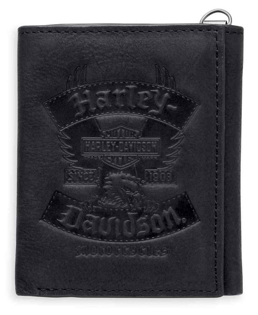 Harley-Davidson Men's Distressed Eagle Tri-Fold Leather Wallet, Black 97830-17VM - Wisconsin Harley-Davidson