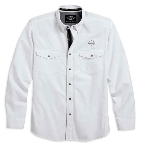 Harley-Davidson Men's Dobby Stripe Long Sleeve Woven Shirt, White 96518-17VM - Wisconsin Harley-Davidson